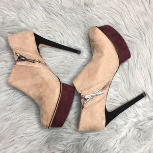 Zara Tan & Wine Suede Platform Ankle Boots 9